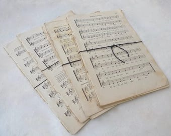 Large French Music Sheets 1800s Vintage Paper Bundle, Music Paper Pack, 10 Sheets of Old Music Paper, French Paper Ephemera
