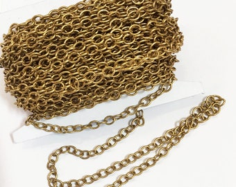 32ft spool Antique  Gold plated round cable chain 4X5mm , gold bulk chain
