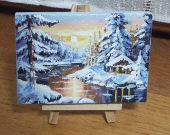 """Mini acrylic painting """"Sunset in the snow"""" easel"""