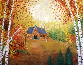 Cottage in the Woods - Large Original Painting SALE