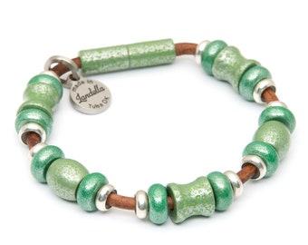 Deluxe Cosmic Emerald & Grasshopper Green Bead Leather Magnetic Landella Bracelet