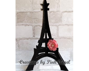 12 inch 3D Black Glitter Eiffel Tower Topper or Centerpiece, Paris Pink and Black Decor, 1 Cardboard Glitter Eiffel Tower Included