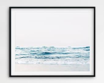 Ocean Waves Art Print, Beach Wall Art, Ocean Print, Water & Sand, Coastal Wall Decor, Aqua Blue Wave Print, Large Modern Art, Printable Art