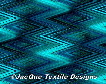Artist Made Canvas Fabric Panel Abstract Zig Zag Blue Tones Fiber Art