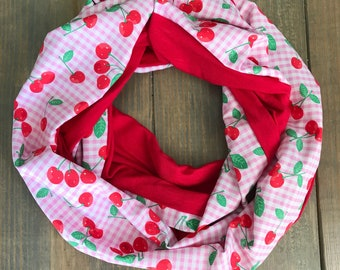 Cherry and Gingham Print Infinity Scarf