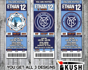 New York City FC Soccer Printable Ticket Invitation Design - Digital files only