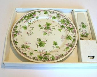 China Cake Plate with Matching Server, Andrea by Sadek, Original Box