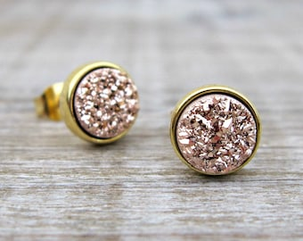 Minimalist jewelry, rose gold druzy studs, druzy earrings, bridesmaid jewelry, tiny 6mm studs, rose gold earrings, bridesmaid gift, bridal