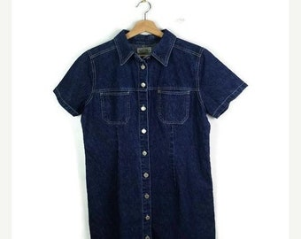ON SALE Denim Short Sleeve Button down Casual  Dress  from 90's