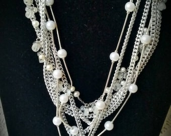 After Life Accessories: Handmade Shab Chic Layered Silver and Pearls w/ Pendant