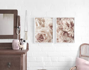 Blush Rose and/or Peony A3 Art Print Pair, Pale Pink Floral Poster Set, Blush Pink, Flower Prints, Large Wall Art, Giftability, Mothers Day