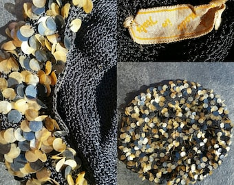 Vintage 1920s 30s Sequin Woven Skull Cap // Flapper Hat // Made in Italy