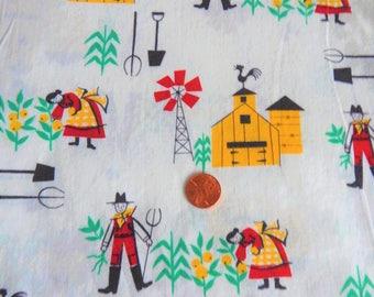 "Vintage 1940s-50s Farmer Novelty Print Cotton Fabric 1+ Yard x 36"" W"