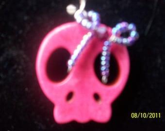 pretty in pink skull earrings - zombie prom