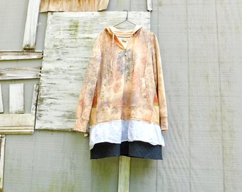 Hoodie Dress, Ladies Tunic, Womens Clothing, Floral, Reconstruct, Upcycled Clothing, Tshirt Dress, Spring Dress, Floral, Tunic, CreoleSha