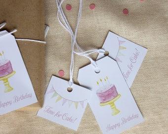 Birthday Gift Tag Favor Tag Printable Favor Tags Baby Shower, Happy Birthday Printable, Thank You Tags, Thank You Printable, Watercolor Cake