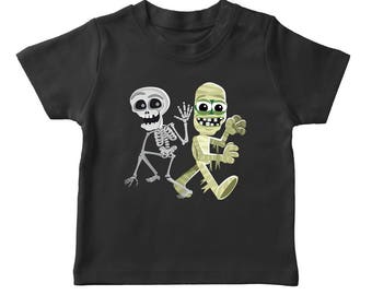 Halloween Cute Skeleton And Mummy Cartoon Boy's Black T-shirt