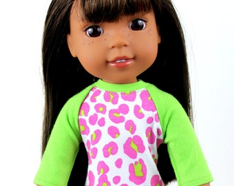 Fits like Wellie Wishers Doll Clothes - Lime Green and Hot Pink Leopard Print Baseball Tee | 14.5 Inch Doll Clothes