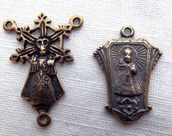 Bronze Infant of Prague Chaplet Set
