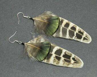 Hippie earrings Feather earrings Boho earrings Bohemian jewelry Autumn earrings Brown earrings Earth tones Fall accessories Iridescent green