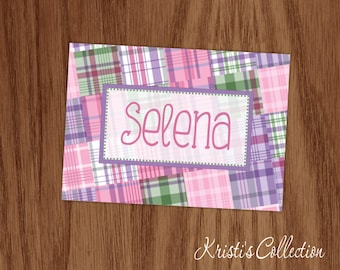 Girls Personalized Note Cards Notecards Set - Girls Personal Preppy Stationery Stationary - Custom Madras Plaid Folded Thank You Note Cards