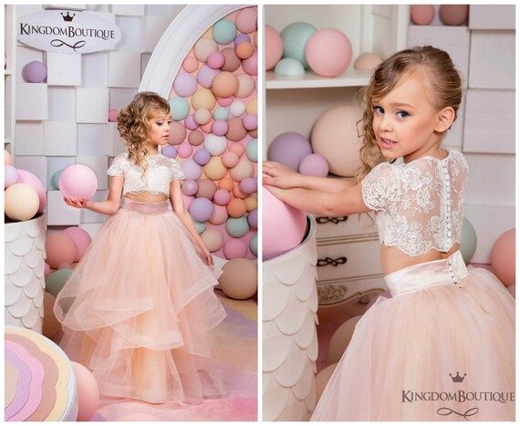Ivory and blush pink flower girl dress birthday wedding mightylinksfo Image collections