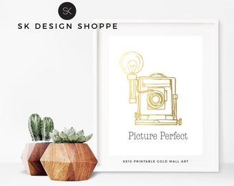 Picture Perfect Printable 8x10 Gold Foil Image Vintage Camera