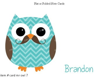 Blue Mustache Owl Note Cards Set of 10 personalized flat or folded cards