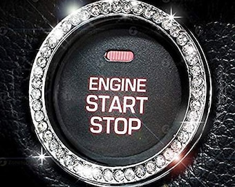 Rhinestone Car Bling Ring Emblem Decal, Bling Interior Girl Car Accessories, Crystal Ring Decal For Car Buttons, Key Ignition,