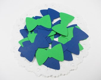 "Preppy Bow Tie Confetti, Navy Blue & Green Bowtie Cutouts, Party Decoration, 1.25"", Table Confetti, 100 CT., Ships in 2-3 Business Days"