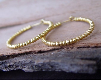 Gold Hoops, Gold Hoop Earrings, Beaded Hoop Earrings
