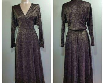 Vintage 70's Metallic Knit Wrap Dress by Bernie Blue, USA, S/M