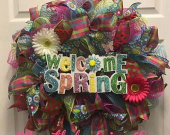 Welcome Spring Wreath, Spring Wreath, Mothers Day gift, Front Door wreath,  Spring, spring decor, garden decor, flower wreath