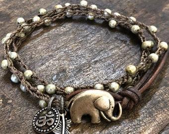 Elephant Bracelet Boho Bracelet Elephant Jewelry Crochet Bracelet Leather Wrap Bracelet Bohemian Jewelry Boho Silver Jewelry