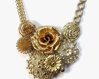 Statement Necklace - Upcycled Gold Flower