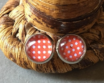 Red dots - 10mm glass cabochon Stud Earrings
