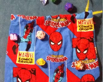 Spiderman reusable gift bag/ travel bag/ dice bag