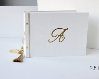 Instax  Mini Guest Book | Linen Guest Book |  Gold Initial Letter |  Personalized Guest Book | By OreDesignSpace