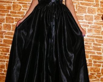 Black Satin Maxi Skirt, Satin Skirt, Satin Long Skirt, Fall Skirt, Holiday Skirt