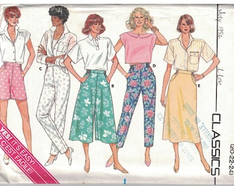 3710 Butterick Misses Sewing Pattern UNCUT Shorts Culottes Skirt Pants Easy 20 22 24 1980s