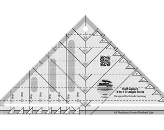 Creative Grids - Half-Square 4-in-1 Triangle Quilting Ruler Template, CGRBH1