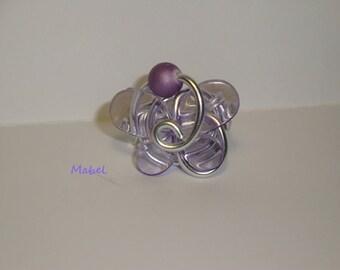 Translucent Purple Butterfly Adjustable ring, wedding
