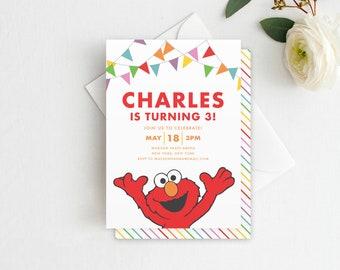 Elmo Birthday Invitation - DIY Sesame Street Birthday Invitation, Sesame Street Invitation, Digital File Template & INSTANT DOWNLOAD