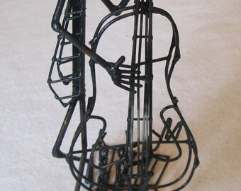 Wire Sculpture Male Bass Player
