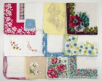 Vintage Hanky Lot 1 Dozen Assorted Vintage Hankies Handkerchiefs (Lot #D15)