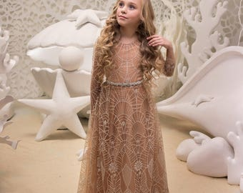 Beige Flower Girl Dress - Wedding Holiday Party Bridesmaid Birthday Flower Girl Beige Tulle Lace Dress  21-058