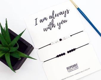 Long Distance Relationship Bracelet, LDR bracelet, Onyx Bracelet, Howlite Bracelet, Couples bracelet, Best Friend Bracelet, Valentines Gift