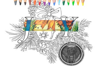 Coloring page, Christmas, Joy