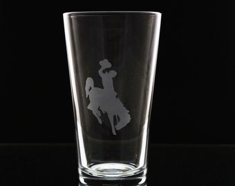 Wyoming Cowboys Drinking Glass - University of Wyoming Beer Glass - UWyo - Pint Glass - Homebrew - Brought to you by Naptime