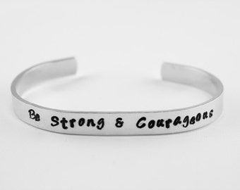 Be Strong & Courageous Joshua 1:9 Bible verse bracelet, Inspirational Jewelry, Hand Stamped Aluminum Scripture Cuff Christian gift for women